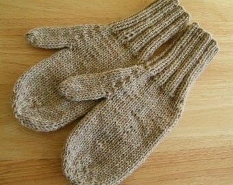 MITTENS HAND KNIT Adult Wool Oatmeal