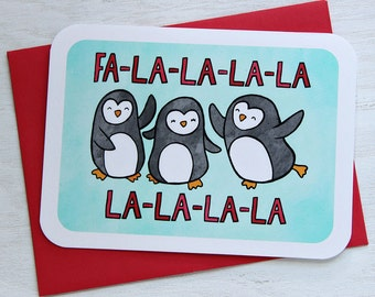 Fa-La-La Holiday Penguin Card - Holiday Notecard, Cute Christmas Card, Funny Christmas Card, Penguin Christmas Card, Winter Greetings