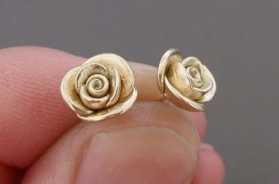 Solid Gold Roses - SAMPLE SALE - Individually Handsculpted, Cast Earstuds in Solid 14K Yellow Gold