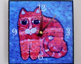 Red and Pink Cat Clock,Feline, Whimsical clock, Childs room,,gift,,office