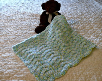 Crochet Baby Afghan Shades of Blue and Green