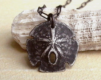 Sand Dollar Necklace - Black - Rustic - Sterling Silver - Oxidized - Nature Inspired - Sea Biscuit - Detailed - Shell Necklace - Pendant