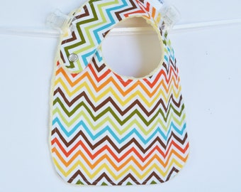 Chevron Baby Boy Bib Adjustable Baby Bib with Minky Chevron Zig Zag