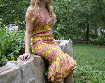 Devine Dress in Pink, Yellow and Gold Patterned Knit with Woven Ruffle