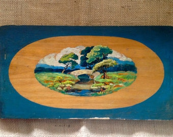 Charming Hand Painted Oil Landscape on Wood Tray Folk Art