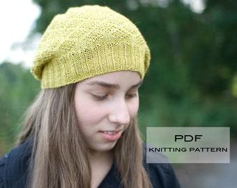 Greengage Slouchy Hat PDF knitting pattern / instructions
