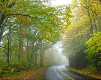 Blue Ridge Parkway photography Foggy fall nature photos, Green Yellow decor Winding Road Print Dreamy Landscape wall art 8x10, 11x14, matted