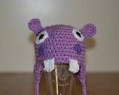 Hippo Ear Flap Character Hat Newborn to 3 Months