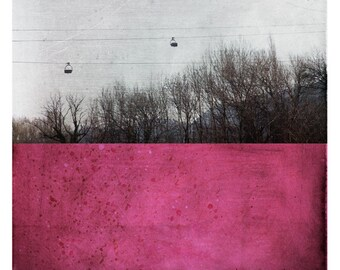 Pole Alpes (Landscape Photography - Fine Art Print  - Winter Trees - Painting - Color Block - Black and white - Magenta Deep Pink)