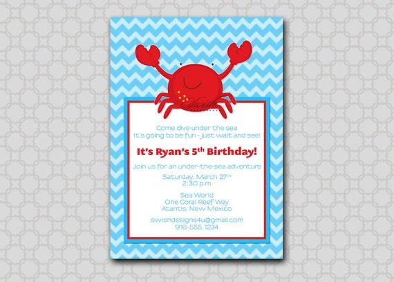Crab Birthday Invitation --- Under the Sea, ocean digital printable party