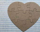 8 Piece Heart Shaped Jigsaw Puzzle Bare/Unfinished chipboard diecuts