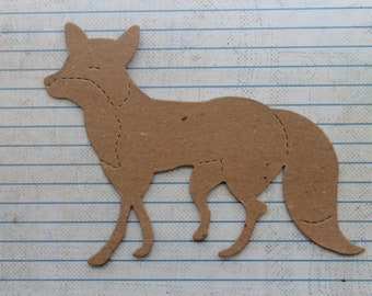 3 Bare chipboard Foxy Fox diecuts approx 5 3/4 inches w  x 4 inches tall