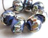 Boro Glass Lampwork Beads Plum Purple and Wild Stripe