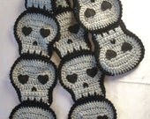 Gray Skull SCARF crochet Halloween grey skulls crochet skull scarf Made To Order