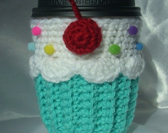 Cupcake Cup Cozy Sleeve  for HOT or COLD Drinks Turquoise White Sprinkles Cherry