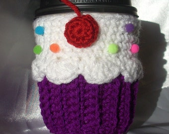 Cupcake Cup Cozy Sleeve Purple neon for HOT or COLD Drinks Sprinkles Cherry Ready To Ship