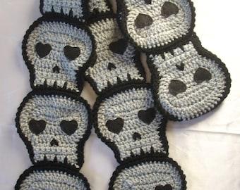 Gray Skull SCARF crochet Halloween grey skulls crochet skull scarf Ready To Ship