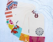 Stamped and stitched doily tags