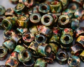 25 Greek Ceramic Beads - Autumn Rust Mini Tube Pony Beads - Rondelles Beads 6x4mm
