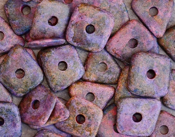Shop Sale..Mykonos Greek Ceramic Beads  MELITZANIA BIG CHIPS (10)
