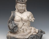 Buddha Statue Wrapped in Clouds Sculpture Wabi Sabi style Raku Ceramics by Anita Feng