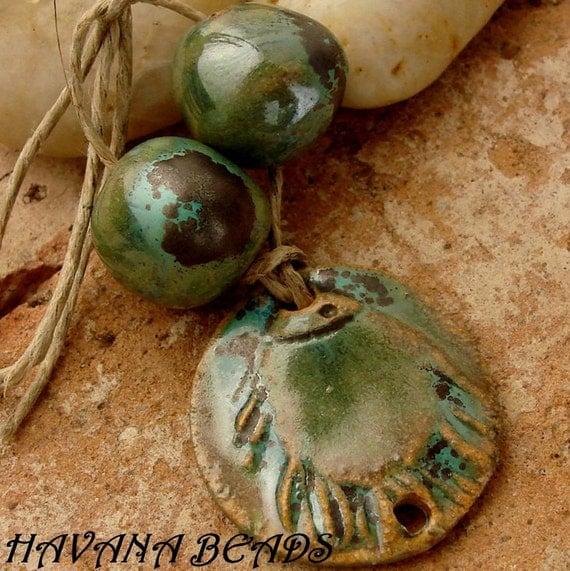 METALLIC GREEN FISH - Handmade Ceramic  Connector Pendant with Coordinating Beads