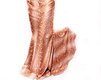 Long Flare Skirt, Snake Charmer mermaid shape,curvy shapely style. Tribal Fusion Belly Dance Costume flare, Warm Beige Cream light Brown