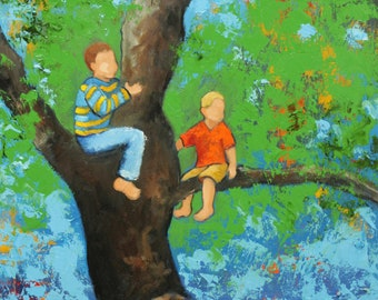 Commission your own Tree Climbing custom portrait original oil painting by Roz