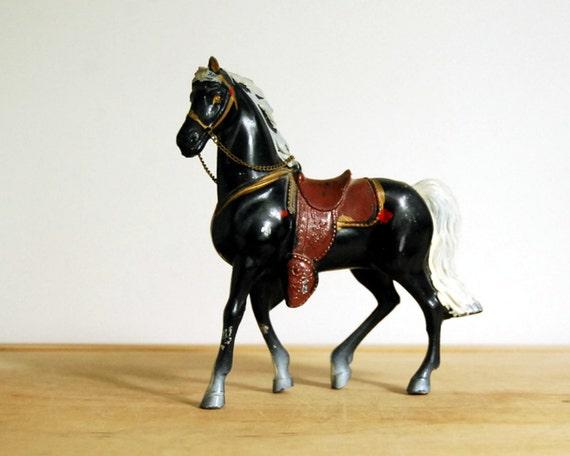 Vintage Horse Figurine Painted Metal Black Beauty Japan Collectibles