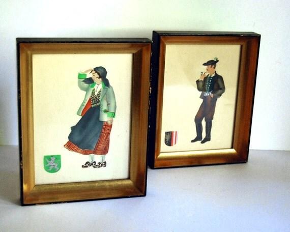 Vintage Original Art Print, Costumed Austrian Couple (set B) Folk Art Silkscreen