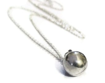 Silver Ball Locket Necklace - Genuine Vintage Round Secret Message Silver Ball Sphere Locket