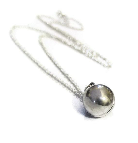 Silver Ball Locket Necklace - Genuine Vintage Round Secret Message Silver Ball Sphere Locket