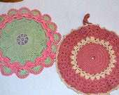 Vintage Cottage Chic  Pot Holders Set of Two