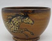 Bowl with two Appaloosa  horses stoneware pottery