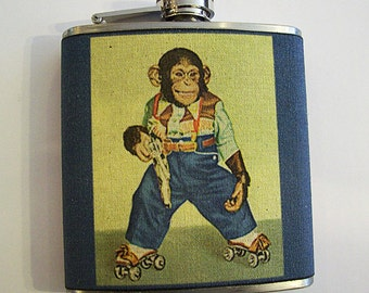 retro monkey flask vintage cartoon hip flask zippy the chimp 1950's animal kitsch