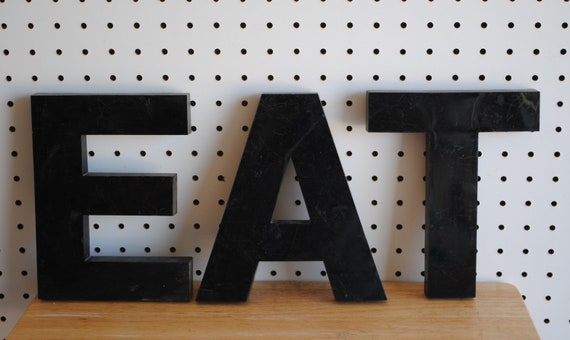 Vintage Industrial Salvage  Sign Letters   Spell EAT