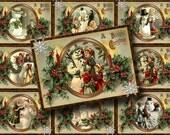 PRiMiTiVE Winter SNOWmAN Vintage Art Hang/Gift Tags -INSTaNT DoWNLOAD- Printable digital collage sheet JPG File-New Lower Price