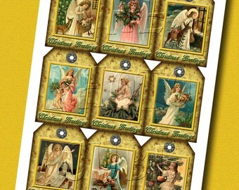 Christmas Greetings -9 Lovely Hang/Gift Tags- Victorian Angel Graphics- Printable collage sheet JPG Digital File-Buy ONe Get ONe FREE