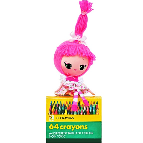 RESERVED / ADOPTED crayon doll poseable hot pink color girl Moon Head This is BUBBLEGUM