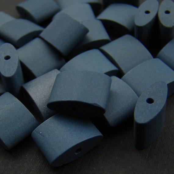 Vintage porcelain beads, blue oval cylinder Japanese 10 mm x 7 mm ceramic, 25 pcs
