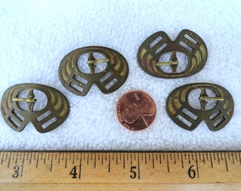 Four Vintage Brass Buckles, Deco Style, 33mm x 23mm