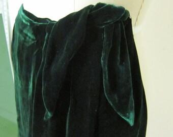 Dark Emerald Silk Velvet Skort 90s