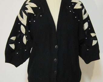 Vintage 80s Black Batwing Cardigan with appliques and pearls