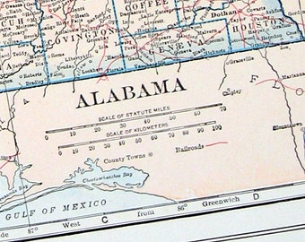 Alabama, Alaska 1928 US State Map Colored Vintage Map from World Atlas 2 Sided