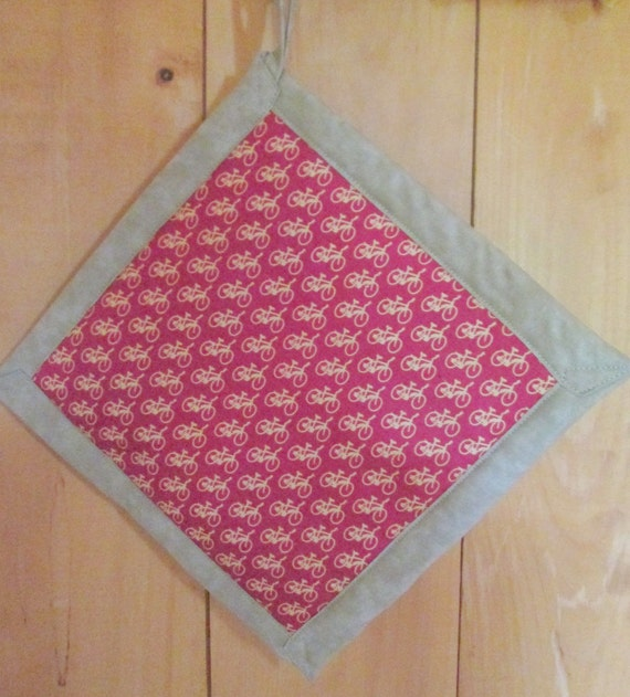 Red Bicycle Potholder with Tan Back - One Potholder