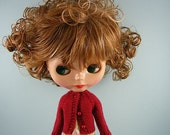 Blythe doll handmade knitted cherry red cardigan sweater BL193