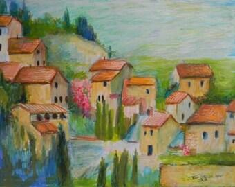 Italian Veneto Hill Village.Original  Landscape Art Painting in Frame.