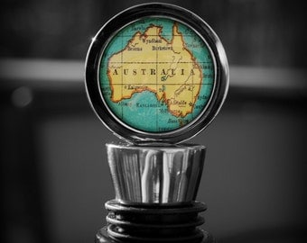 Australia - Wine Bottle Stopper - Vintage Map - Perfect Hostess Gift