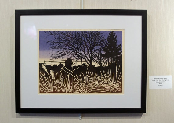FRAMED Landscape- Dusk, View from the Highway-Trees, Silhouette, Blue Sky, Woodblock Print