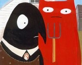 Cat and Crow ACEO - American Gothic - Art Print